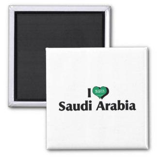 I Love Saudi Arabia Flag Square Magnet