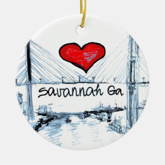 I love Savannah Ga Round Ceramic Ornament