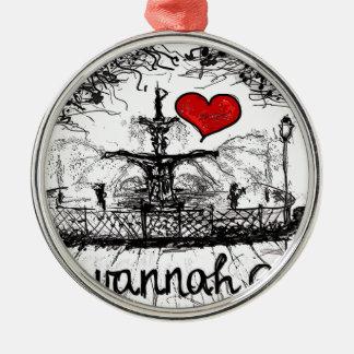 I love Savannah Ga. Silver-Colored Round Ornament