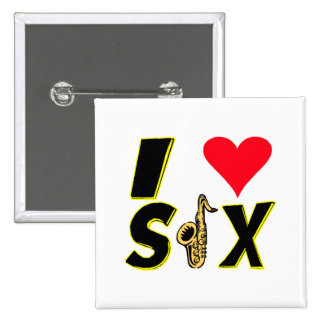 I Love Sax 2 Inch Square Button