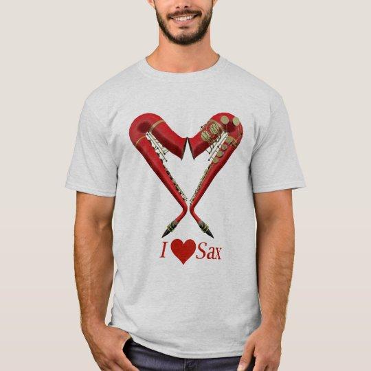 I Love Sax T Shirt, Red on Ash T-Shirt