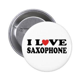 I Love Saxophone Button