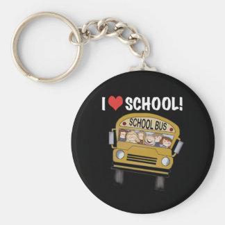 I Love School Basic Round Button Keychain