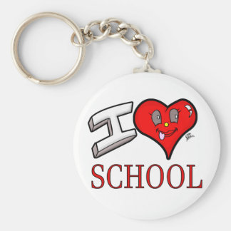 I Love School Design for Learners and Educators Basic Round Button Keychain