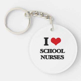 I Love School Nurses Keychain