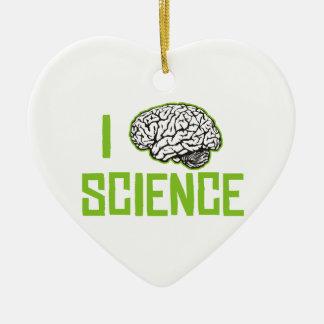 I Love Science (brain, green) Ceramic Heart Ornament
