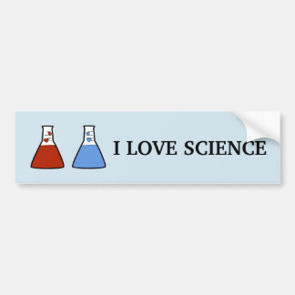 I Love Science Red and Blue Beaker with Hearts Bumper Sticker
