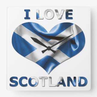 I Love Scotland Heart Flag Square Wall Clock