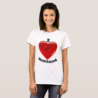 I Love Scotland, Rampant lion, Red heart of love T-Shirt