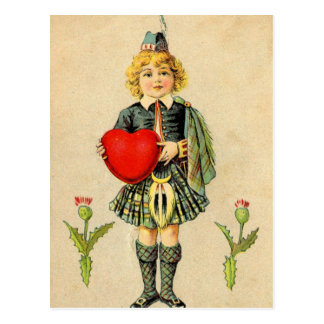 I love Scotland, vintage Scottish highlander Postcard
