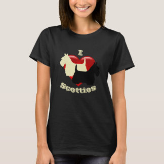 I Love Scottish Terriers, Black & wheaten T-Shirt