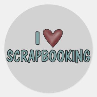 I Love Scrapbooking Round Sticker