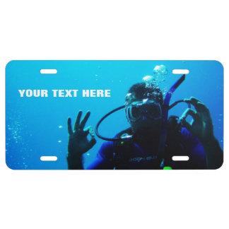 I Love Scuba Diving Customizable License Plate