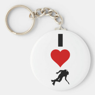 I Love Scuba Diving (Vertical) Keychain