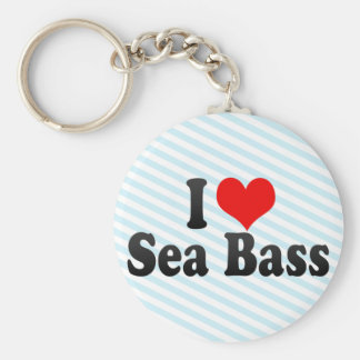I Love Sea Bass Keychain