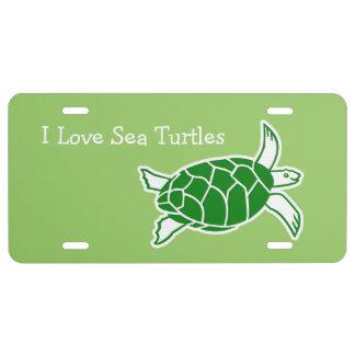 I Love Sea Turtles License Plates