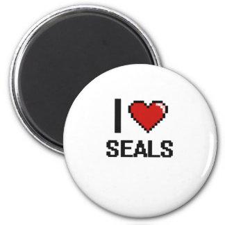 I love Seals Digital Design 2 Inch Round Magnet