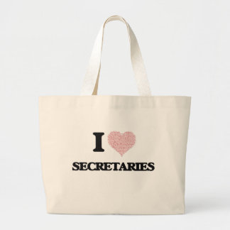 I love Secretaries (Heart made from words) Jumbo Tote Bag