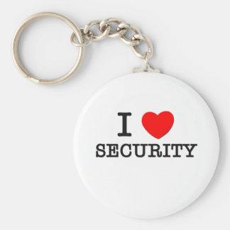 I Love Security Basic Round Button Keychain