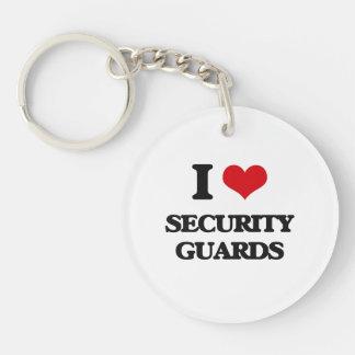 I love Security Guards Single-Sided Round Acrylic Keychain