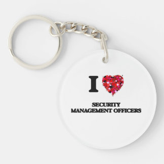 I love Security Management Officers Single-Sided Round Acrylic Keychain