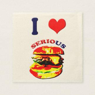 I Love Serious Burgers Paper Napkin