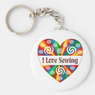 I Love Sewing Basic Round Button Keychain