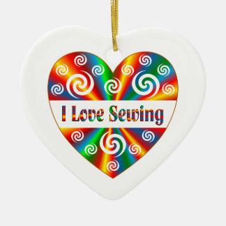 I Love Sewing Ceramic Ornament