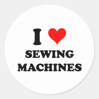 I Love Sewing Machines Round Sticker