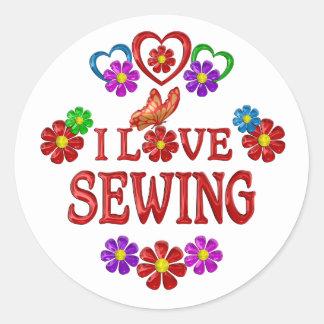 I Love Sewing Round Sticker