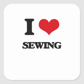 I Love Sewing Square Sticker