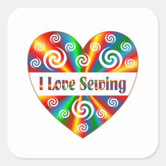 I Love Sewing Square Sticker