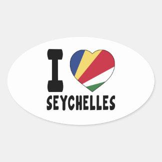 I Love Seychelles Oval Sticker