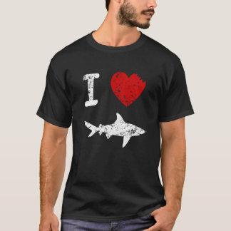 I Love Sharks funny mens shirt