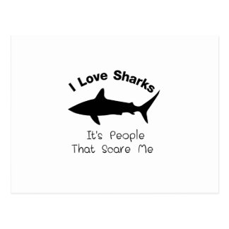 I Love Sharks It's People That Scare  Me Shark Postcard