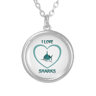 I Love Sharks Silver Plated Necklace
