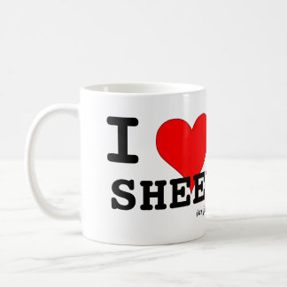 I Love Sheep (as friends) Big Red Heart Black Lamb Coffee Mug