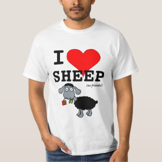 I Love Sheep (as friends) Big Red Heart Black Lamb T-Shirt