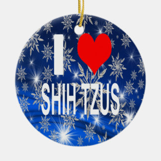 I Love Shih tzus Christmas Ornament, Shihtzu Ceramic Ornament