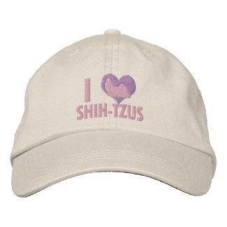 I Love Shih Tzus Pink Embroidered Baseball Caps