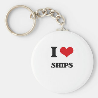 I Love Ships Keychain
