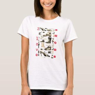 I Love Shoes Funny Cartoon Monochrome Chic Girly T-Shirt