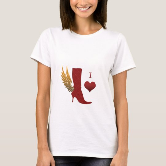 I love shoes T Shirt angel wing boot red