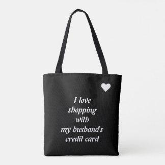 I love shopping template tote bag