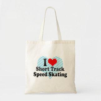 I love Short Track Speed Skating Budget Tote Bag