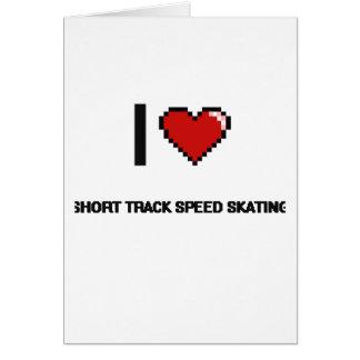 I Love Short Track Speed Skating Digital Retro Des Greeting Card