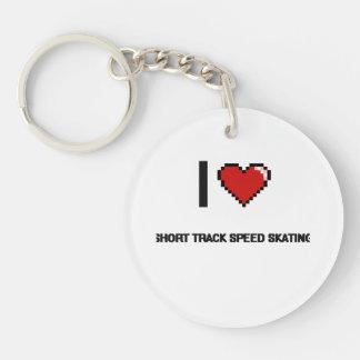 I Love Short Track Speed Skating Digital Retro Des Single-Sided Round Acrylic Keychain