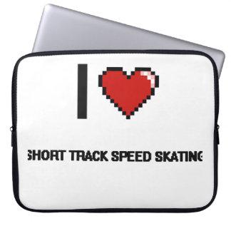 I Love Short Track Speed Skating Digital Retro Des Computer Sleeves