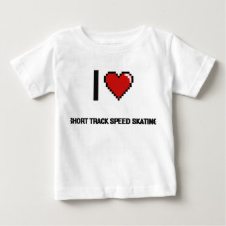 I Love Short Track Speed Skating Digital Retro Des Tshirts