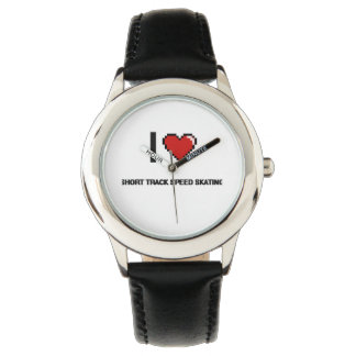 I Love Short Track Speed Skating Digital Retro Des Wristwatches